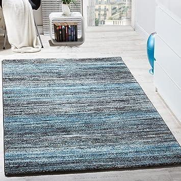 Teppiche Modern Wohnzimmer Teppich Spezial Melierung Türkis Grau ...
