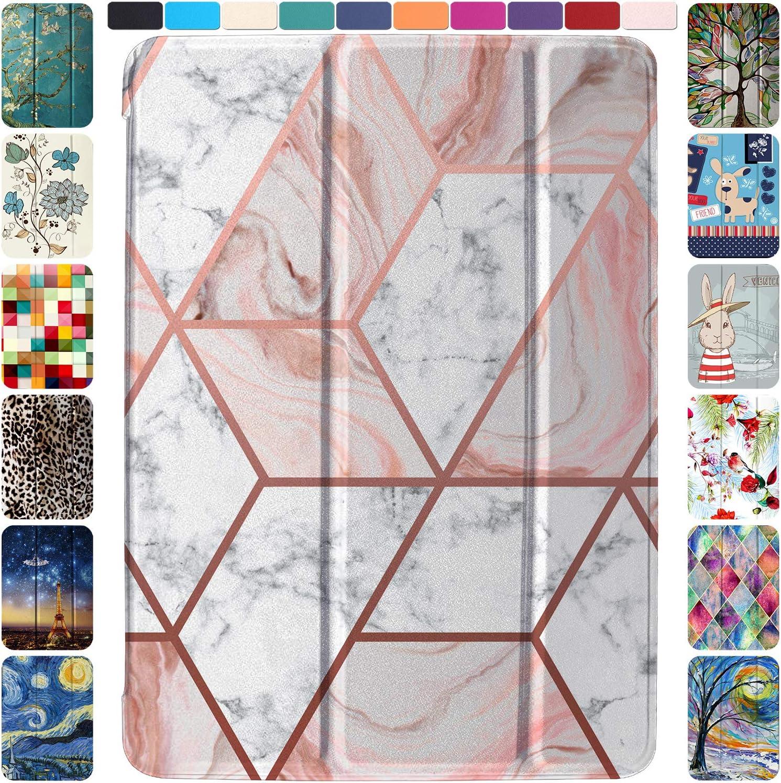 DuraSafe Cases for iPad 7.9 Inch Mini 4th [ Mini 2015 4 Gen ] MK6K2LL/A MK6J2LL/A MK6L2LL/A MK9J2LL/A MK9H2LL/A MK9G2LL/A Ultra Slim Smart Auto Sleep / Wake Printed PC Cover - Marble Pink