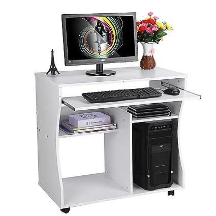 Zerone Escritorio de la computadora, Ordenador portátil Madera Carro Escritorio Teclado estantes con Ruedas giratorias