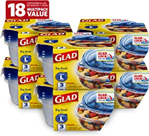 Glad BB13452PCS6 Food Storage Containers, 3 Count (Pack of 6), Standard, 6
