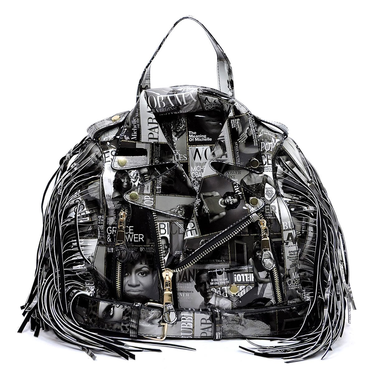 Glossy Magazine Cover Collage Motorcycle Jacket Fringe Backpack Michelle Obama Handbag (Black/White)