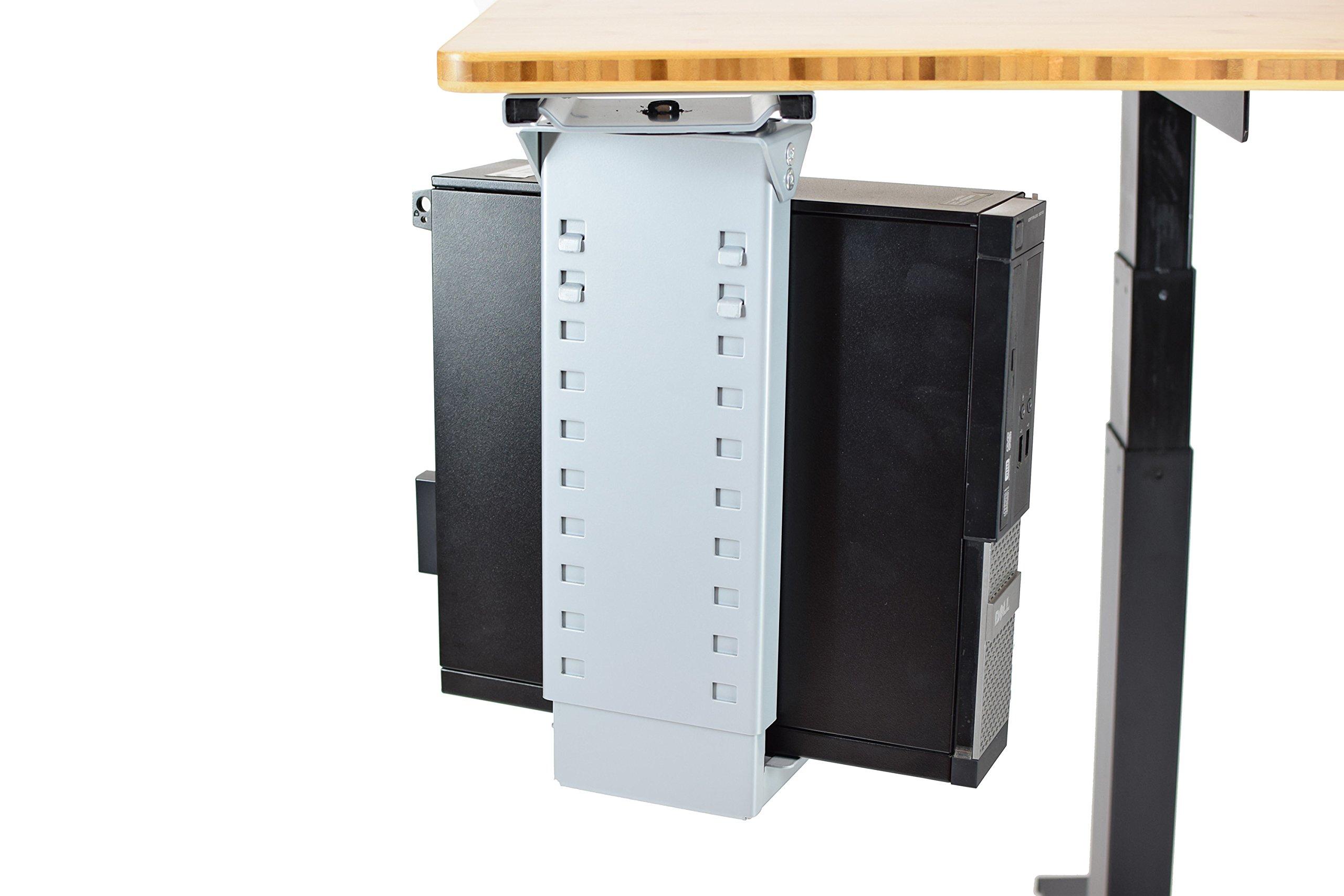 Adjustable Swivel Under-Desk CPU Holder/Under Desk PC Tower Stand/for ergonomic standing desks, stand up desks, office desks accessories (gray)