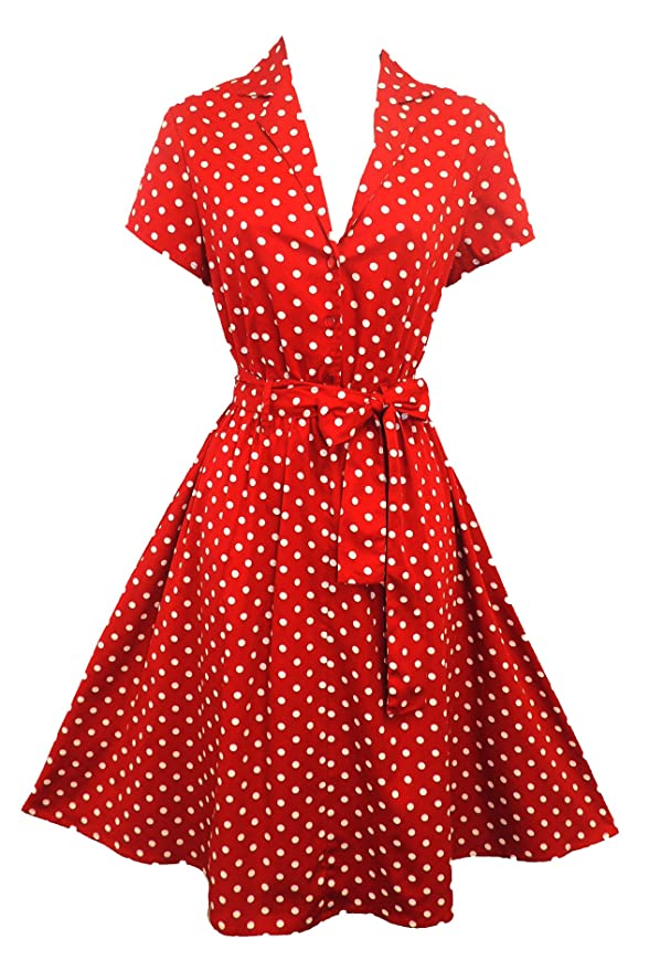 Polka Dot Dresses: 20s, 30s, 40s, 50s, 60s Rosa Rosa Red Polka Dot WWII 1940's Vintage Style Classic Shirt Swing Tea Dress £29.99 AT vintagedancer.com