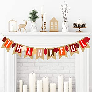 Adoreu Thankful Burlap Banner Fall Autumn Maple Leaves Rustic Burlap Harvest Banner Mantel Fireplace Wall Hanging for Home Office School Party Decor Thanksgiving Decoration