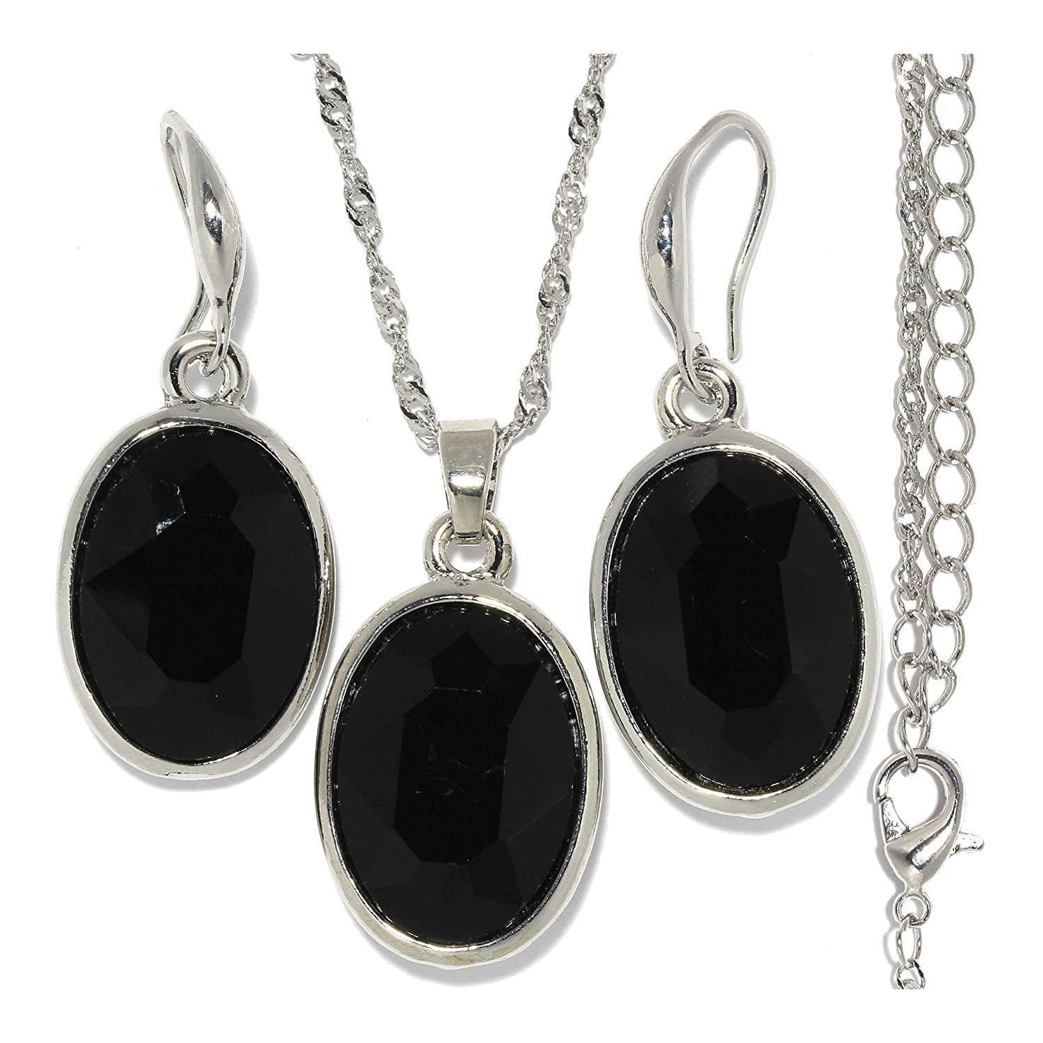 """18"""" Necklace Pendant Earrings Set Oval Gem Black Crystal Cut Silver Tone Alloy AnsonsImages"""