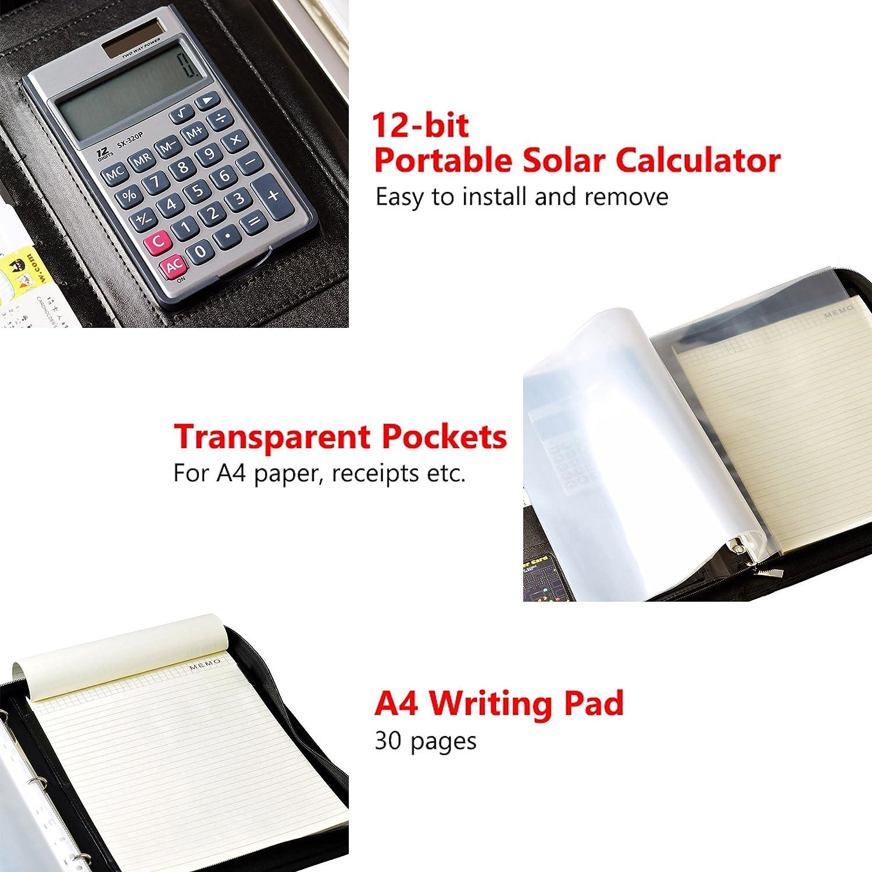 Mcbazel Black Zippered PU Leather 3 Ring Binder iPad Padfolio Organizer Documents Card Holder with 12-bit Portable Solar Calculator A4 Notepad