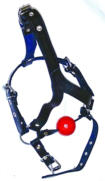 Amazon.com: Leather Full Head Harness with Ball | Fully ...