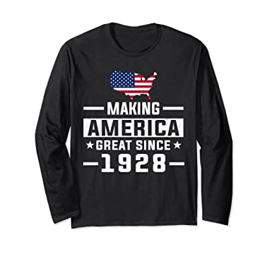 Unisex Making America Great Since 1928 90th Birthday Gift LS Shirt Small Black