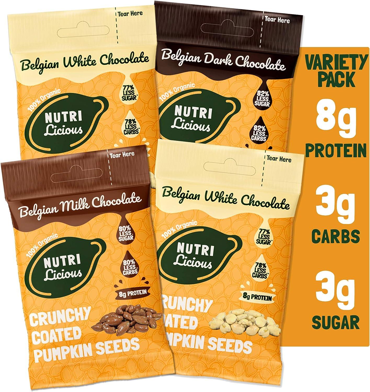 Nutrilicious Delicioso Semillas de Calabaza Recubiertas - Keto, Ricas en Proteínas Bajos en Carbohidratos, Menos Azúcar, Ricas en Fibras, Ingredientes ...