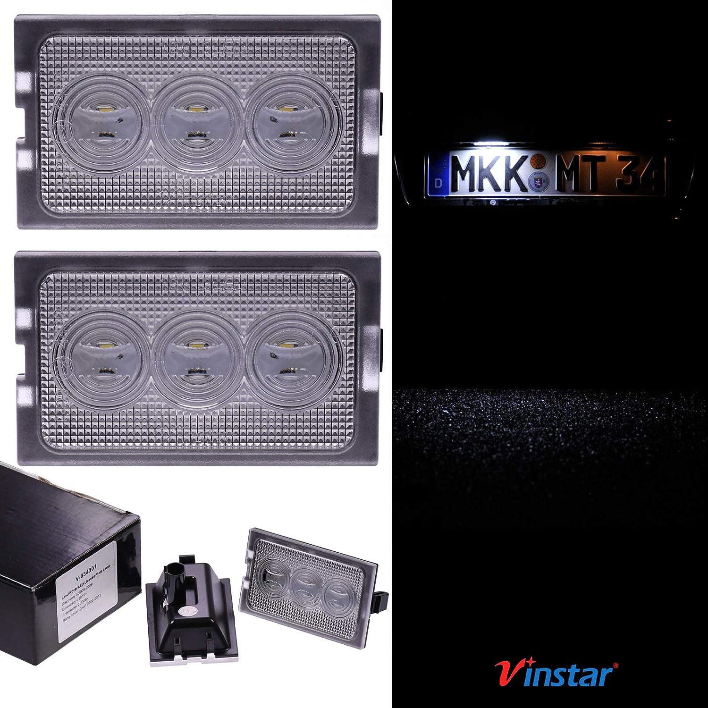 alle passenden Modelle in der Produktbeschreibung! VINSTAR LED Kennzeichenbeleuchtung E-gepr/üft CAN-Bus 18 LEDs je Modul 6000 Kelvin f/ür Land Rover