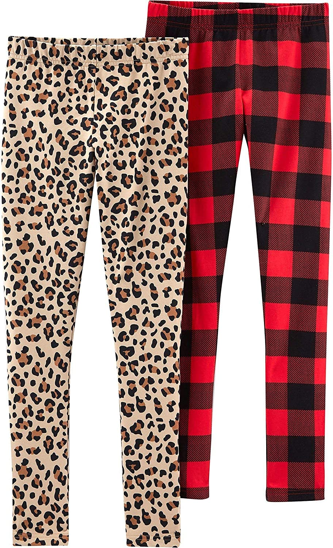 Leopard /& Plaid Leggings Carters Little Girls 2-pk