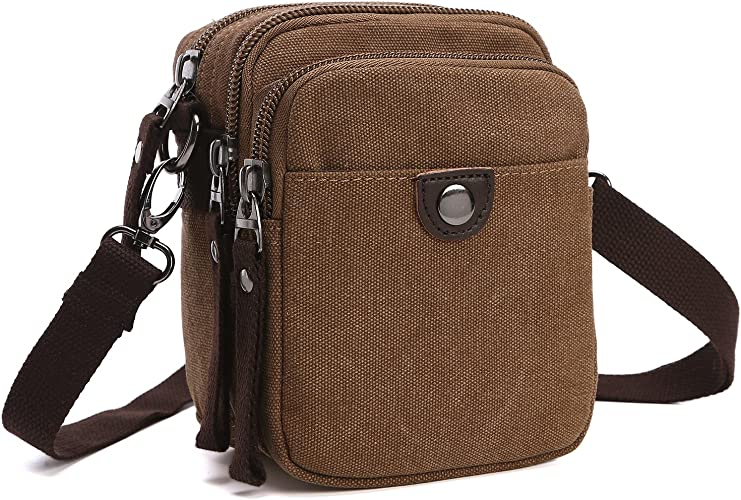 Small Vintage Canvas Crossbody Bag Multi Pocket Travel Messenger Shoulder Bag Mini Purse