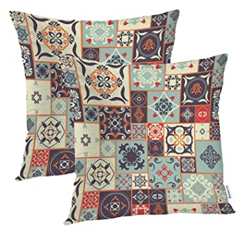 Amazon.com: Batmerry Moroccan Pillow Covers 18x18 Inch Set ...
