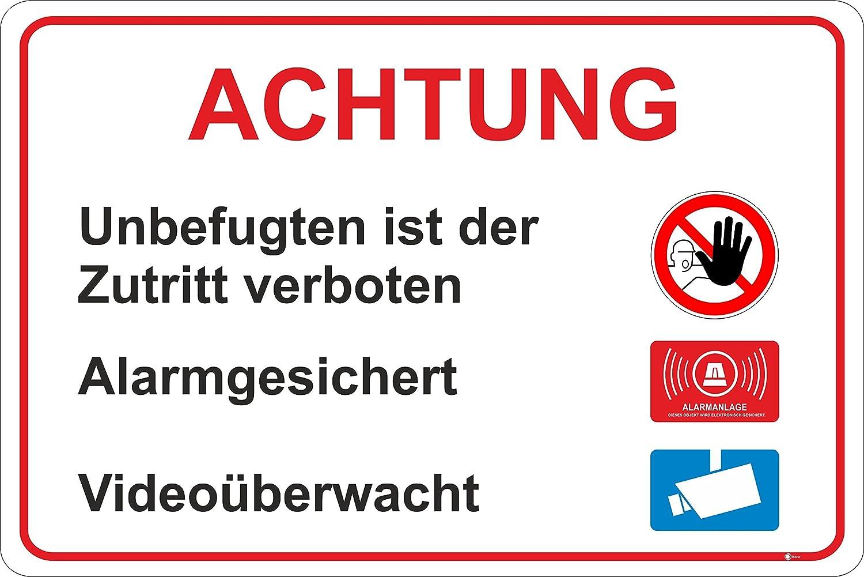 Hinweisschild Zutritt für Unbefugte verboten, iSecur, Art. hin_198, 30x20cm, alarmgesichert, Hinweis auf Videoüberwachung, Alarmanlage, Hinweisschild für Haus, Gebäude, Grundstück, Gewerbeobjekt, Achtung, Vorsicht, Warnung, Betreten verboten