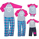 Footsteps Clothing Pretty Pink Mommy Me Baby Baseball Shirt Love Heart Sets - Mother Daughter Matching