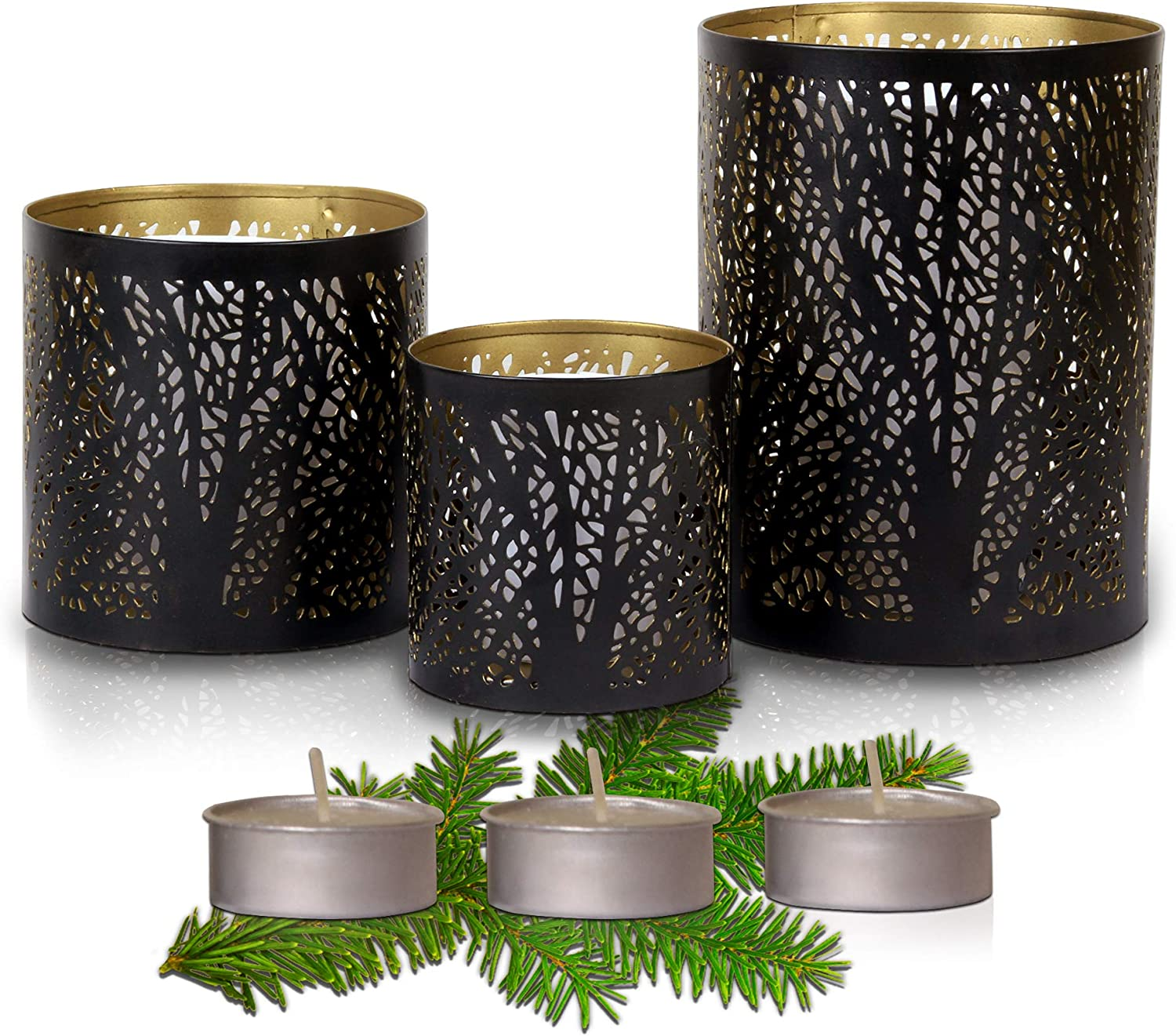 Hestia Black and Gold Candle Holder Set of 3 - Stunning Decorative Candle Centerpieces for Tables and Home Decor with a Unique Tree Sleeve Design | Rustic to Modern Style [Includes 3 Tea Candles]