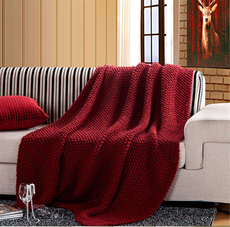 手編みのブランケット手作りの赤いアクリルのオフィスのソファソファの柔らかい暖かいエアコン127 * 153センチメートルホームダブルベッドラグジュアリーソファ   B07HVKJNFS