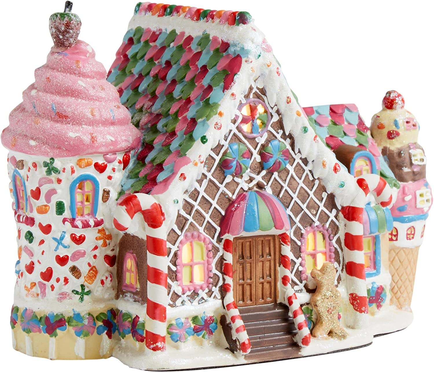 Holiday Christmas Lighted Porcelain House - Gingerbread Sweets