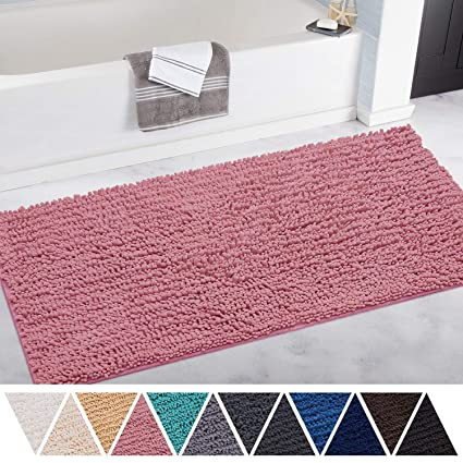 Gentil Amazon.com: DEARTOWN Non Slip Thick Microfiber Bathroom Rugs,  Machine Washable Bath Mats With Water Absorbent (27.5x47 Inches, Style 1:  Pink): Home U0026 ...