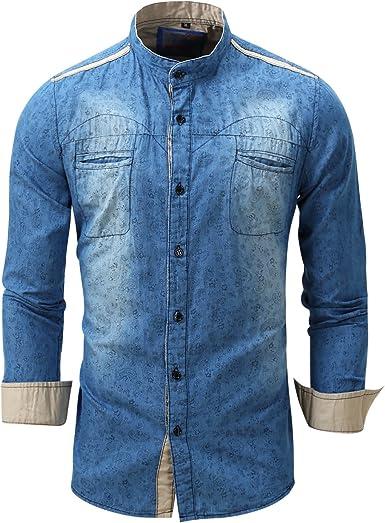 VB Hombres Camiseta de Manga Larga en Cardigan en algodón ...