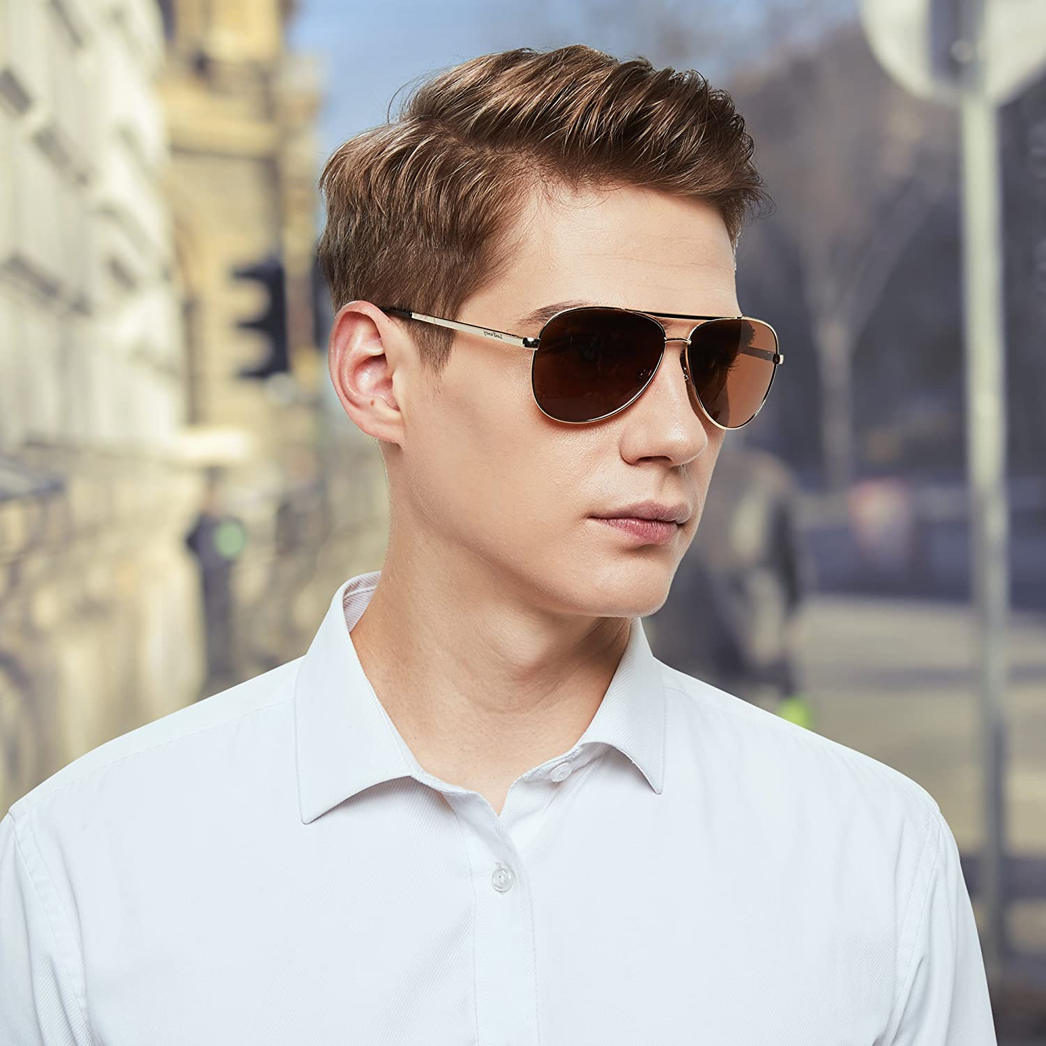 Lightweight For Protection Lotfancy StyleUltra MenUv400 With Classic Polarized Aviator Case61mm Sunglasses WYH9DeE2I