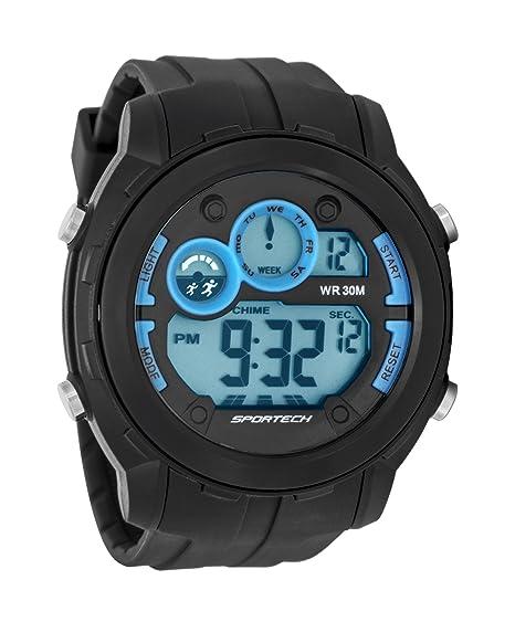 Unisex Sportech | color gris oscuro y cielo Azul Borde Super tamaño completo Racer Digital reloj