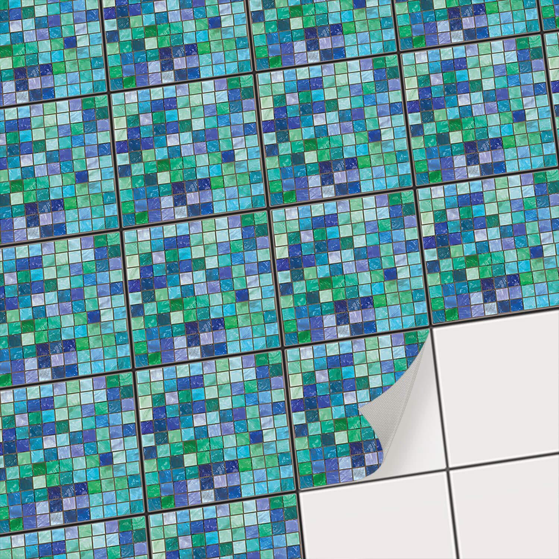 Carrelage adhé sif Mural | Autocollants pour Carreaux de Ciment - Dé corer Cuisine - mosaique Salle de Bain | Ré nover dosseret | Stickers carrelage - Design Mosaï que Vert-Bleu - 10x10 cm - 9 piè ces creatisto GmbH
