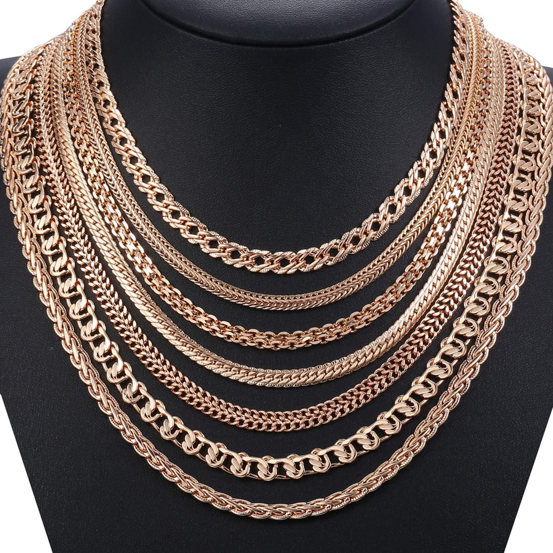 experiment Personalize Necklace for Women Men 585 Rose Gold Venitian Curb Snail Foxtail Link Chains Necklace Fashion Jewelry 50cm 60cm CNN1-CN14-60cm 24inch