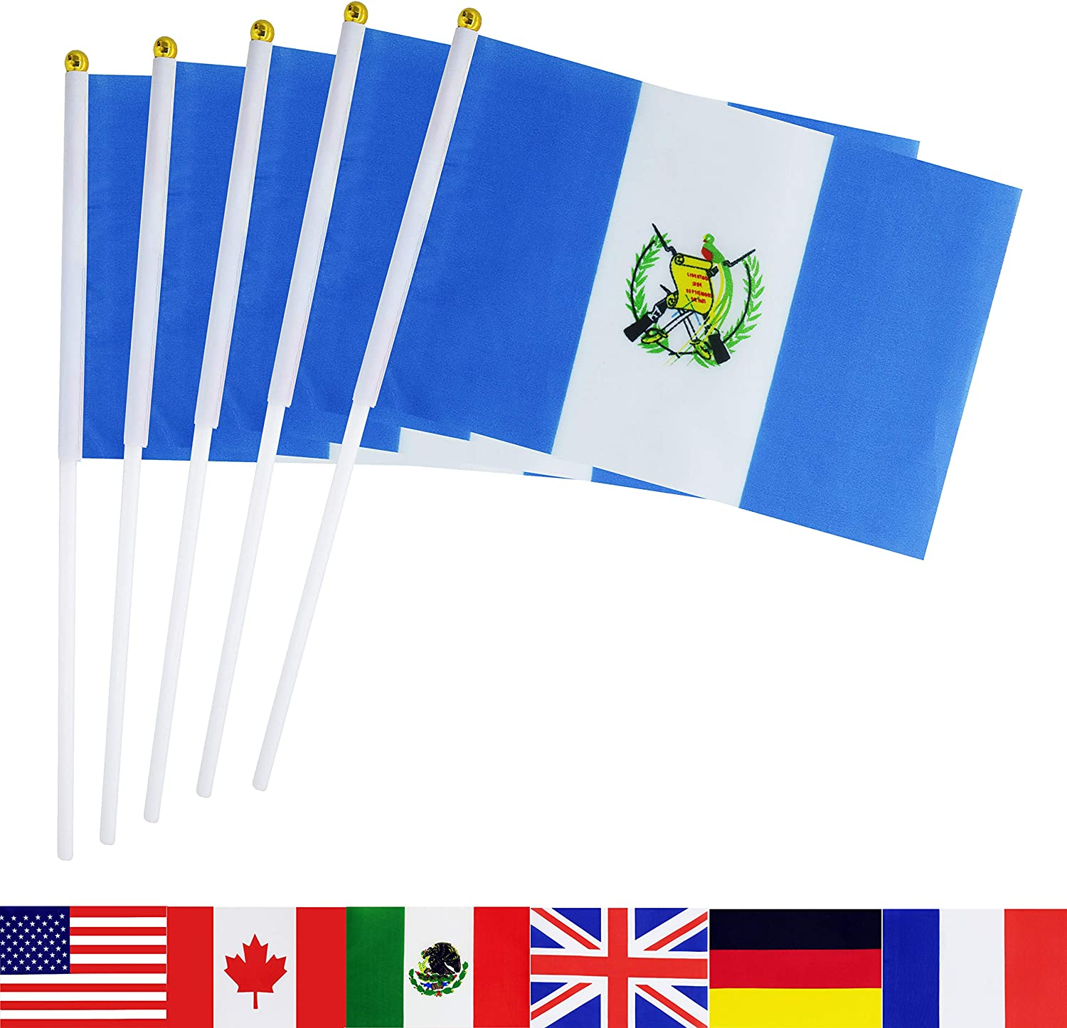 TSMD Guatemala Stick Flag, 50 Pack Hand Held Small Guatemalan National Flags On Stick,International World Country Stick Flags Banners,Party Decorations for Olympics,Sports Clubs,Festival Events