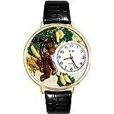 Monkey Black Skin Leather And Goldtone Watch #WG-G0150008