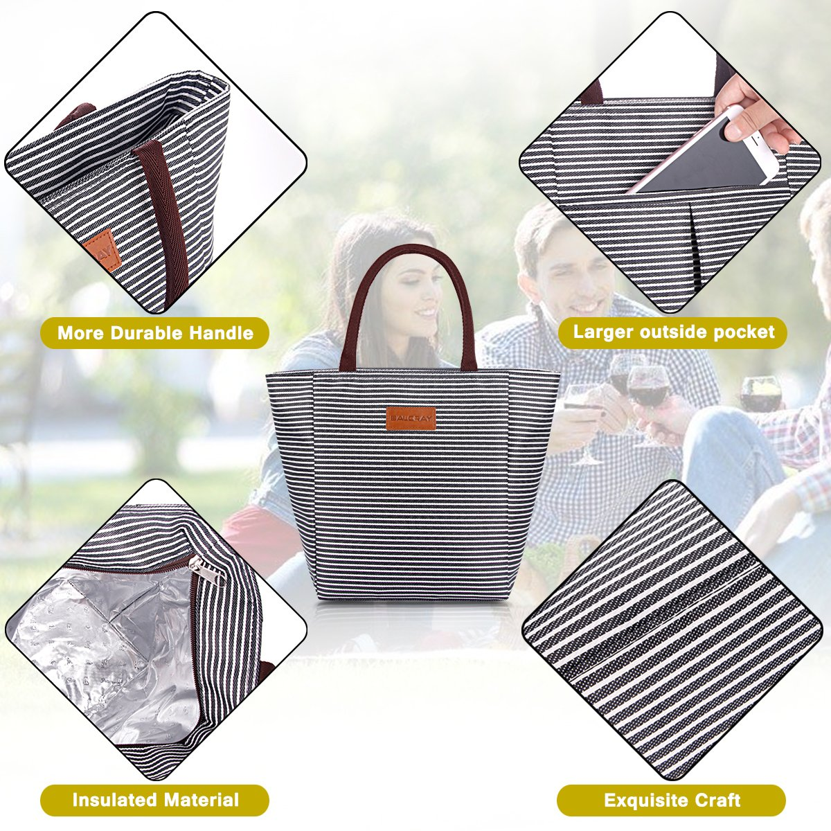 4961f81971c7 Details about BALORAY Lunch Bag Tote Bag Lunch Organizer Lunch Holder Lunch  Container (G-199L