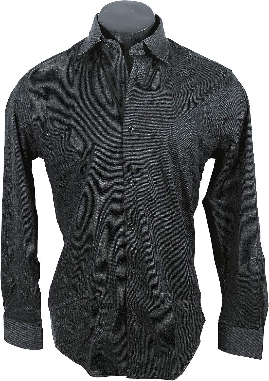 MASSIMO DUTTI Men 0165/365/800 - Camisa de algodón Ajustada Negro L: Amazon.es: Ropa y accesorios