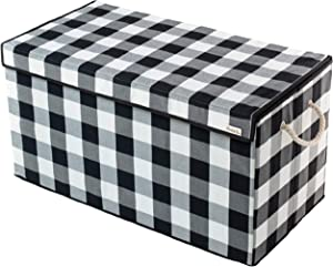 Nest & Be X-Large Premium Toy Storage Chest - Black & White Check, Buffalo Plaid, Durable Sides w/Divider, and Attached, Flip-Top Lid. for Home Organization, Nursery, Kids playroom, Pet Items, Closet