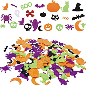 MAIAGO Halloween Foam Stickers, 500 pcs Glitter Foam Stickers Craft Self Adhesive Stickers for Halloween Party Decorations Kid's Halloween Party Crafts