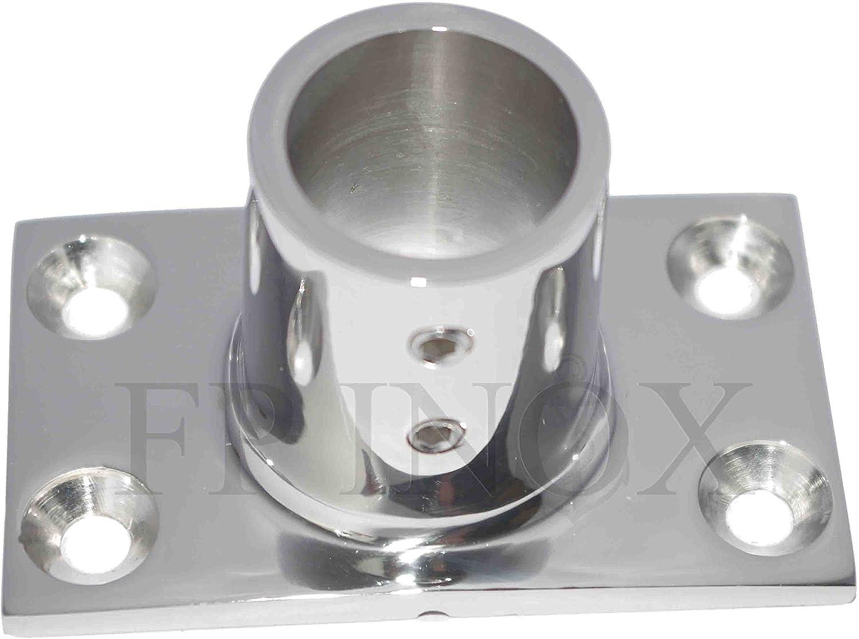 Embase Platine Rectangulaire 22mm Droite 90° inox 316