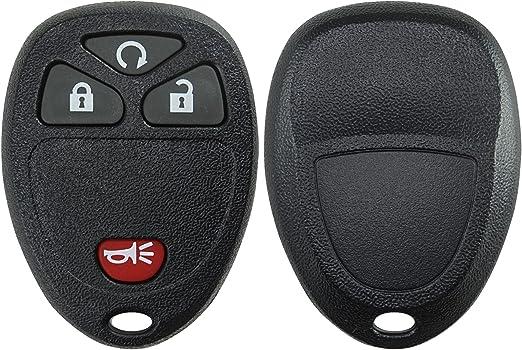 FCC M3N40821302 ANGLEWIDE 4pads Car Key Fob Keyless Entry Remote SHELL CASE Replacement for 14-17 for Chevrolet Colorado Silverado 1500 Silverado 3500 HD for GMC Yukon Sierra 4 Buttons Black