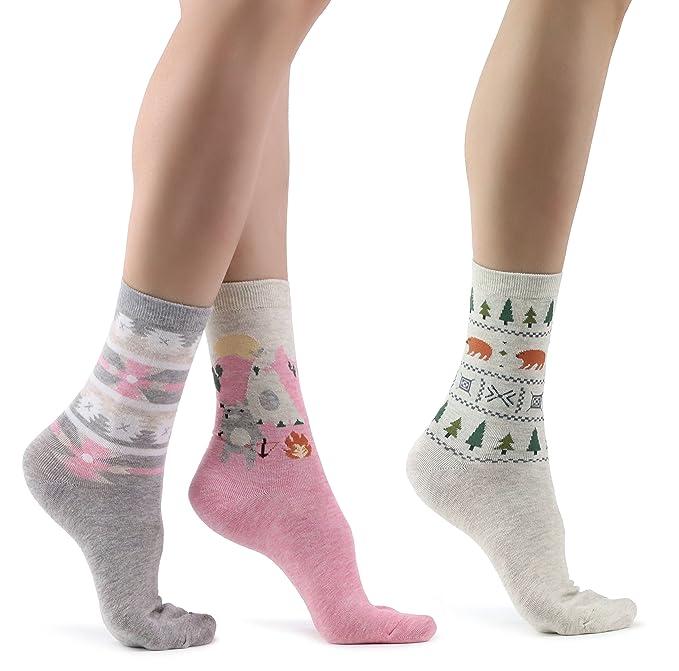 Mixmi Boutique Calcetines de algodón para mujer 3 pares, Calcetines de diseño azteca para damas