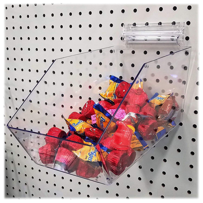 Clear Pegboard Acrylic Dump Bin, 6'' L x 5.5'' H x 11.5'' D - Large Bin, 1 Unit