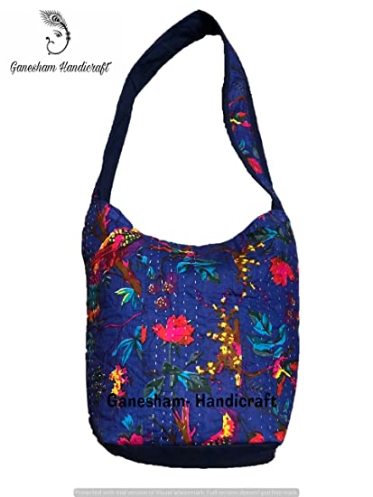 Image Unavailable. Image not available for. Color  Ganesham Indian Handmade  Hippie Boho Hobo Kantha Cotton Cross Body Handbags Messenger Bags ... 958b6ff47d79e