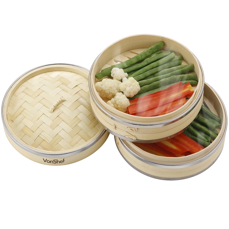 inclus 2 paires de Baguettes GRATUITES /& 50 Papiers de Cire GRATUITS VonShef Appareil /à Vapeur Bamboo Premium 20cm 2 Niveaux avec Cerclage en Acier Inoxydable