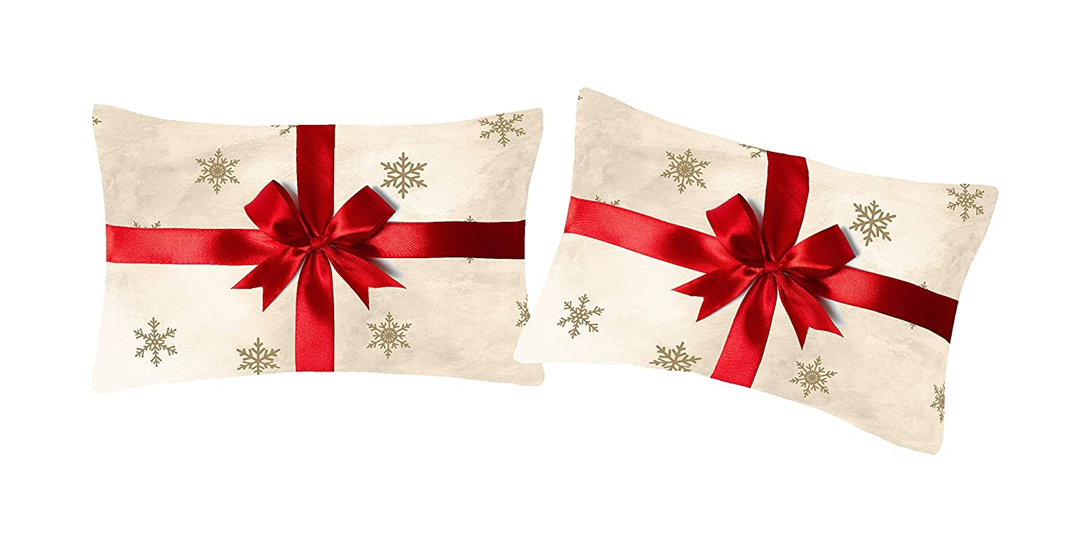 Catherine Lansfield Merry Christmas Present Housewife Pillowcase Pair Gold Turner Bianca BD/45530/W/HPC2/GO