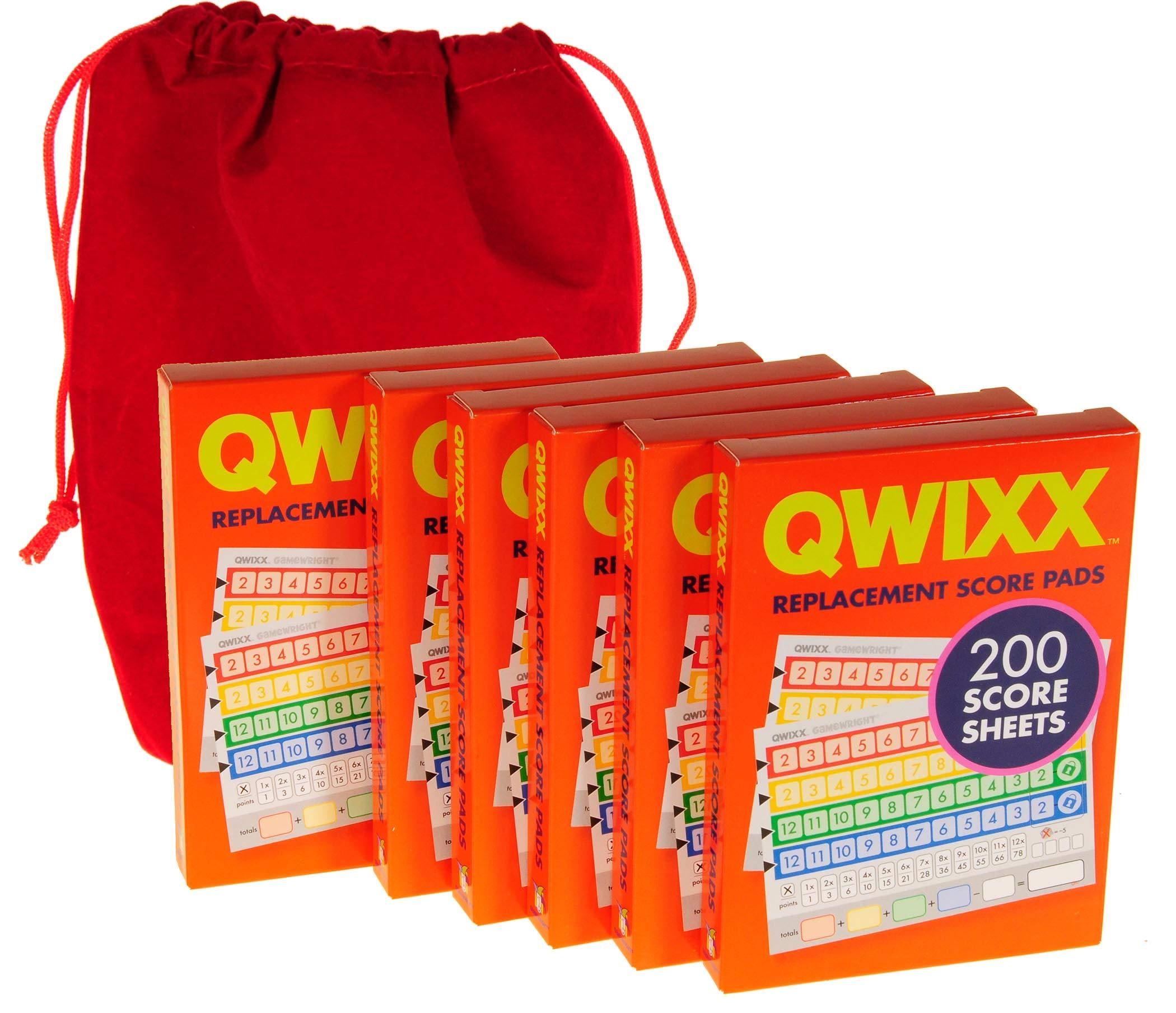QWIXX 6 Replacement Score Pad Packs - 1,200 Score Sheets || Bonus Red Velvet Drawstring Pouch || Bundled Items