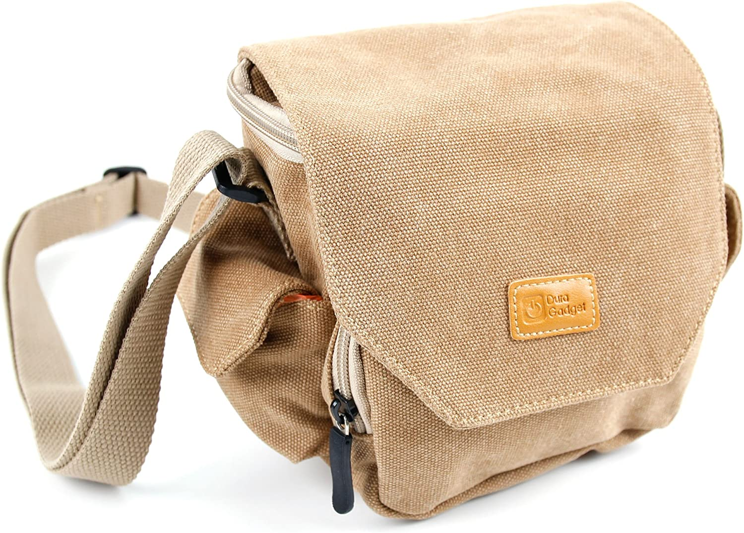 DURAGADGET Light Brown Medium Sized Canvas Carry Bag Compatible with HP F-310 Car Camcorder