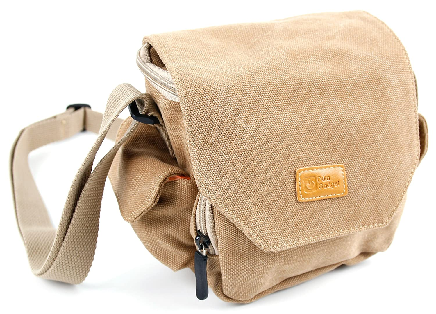 DURAGADGET tan-brown中サイズキャンバスCarry Bag for the GizmoVine ge-bs0073-u-5 Altoparlante Multicolore PORTATILE Bluetoothワイヤレス B01HY0OSWY