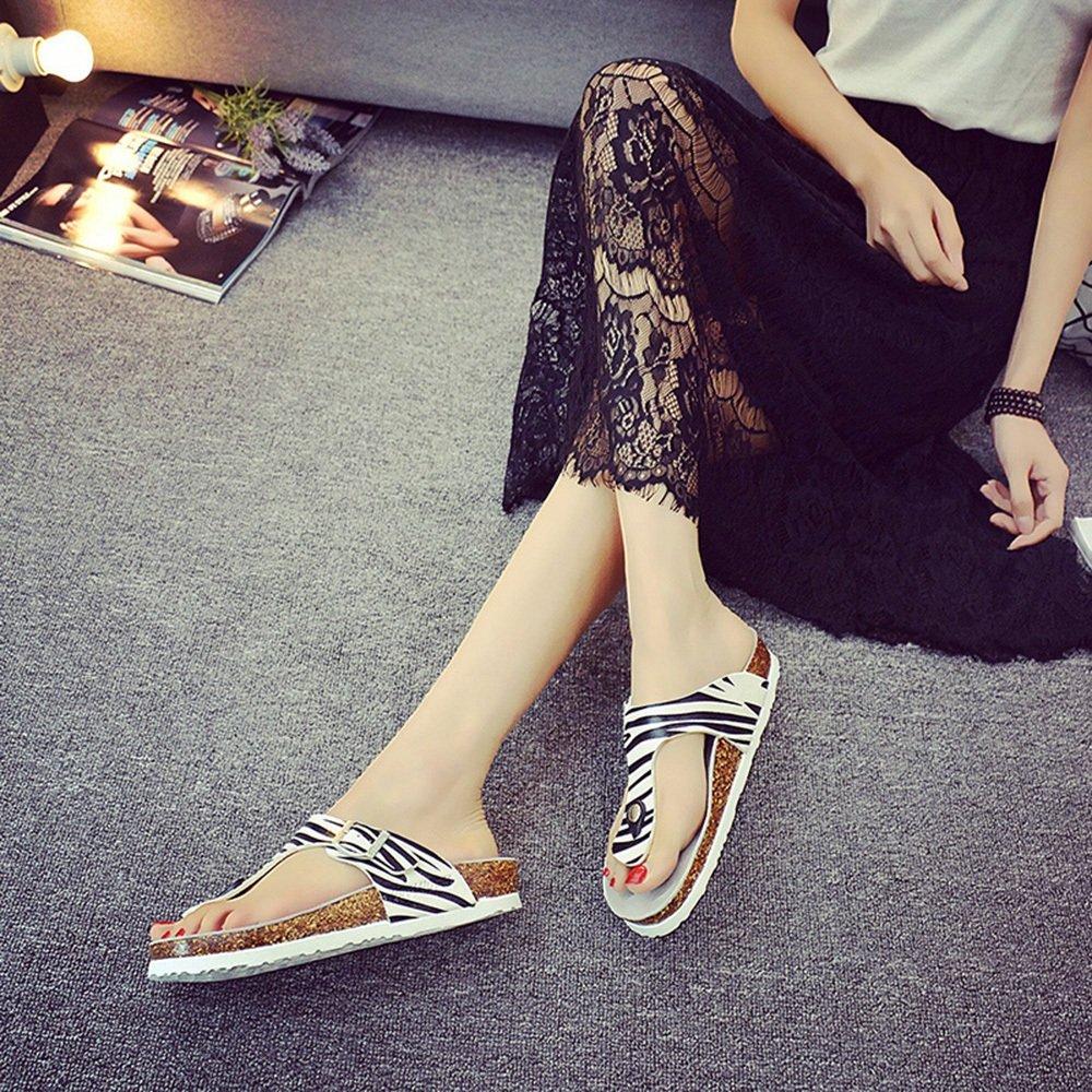LIXIONG Tragbar Paar Strand Schuhe Sommer Mode Zebra Hausschuhe Weibliche Kork Hausschuhe Für 18-40 Jahre Alt Modeschuhe ( größe : EU42/UK8.5/CN43 ) HraXGgp