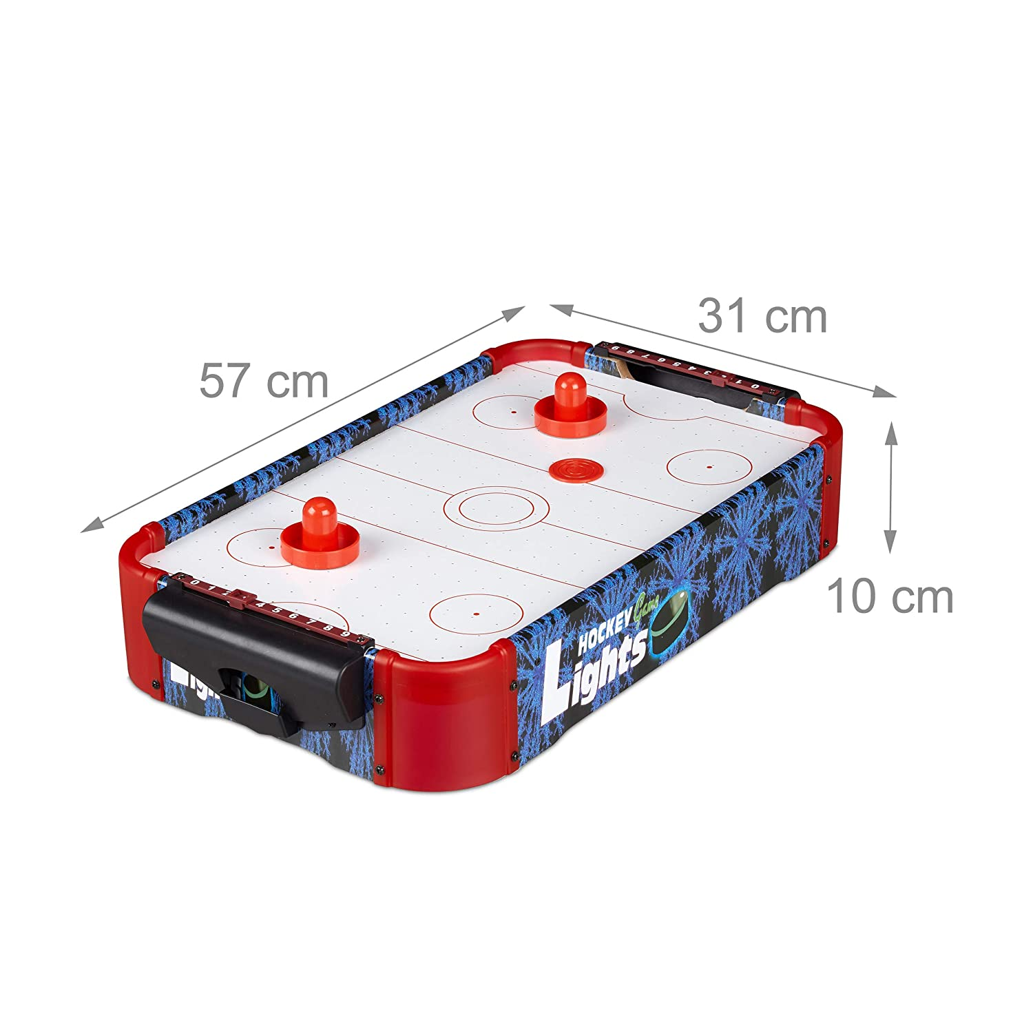 Relaxdays Air Hockey Table, Luz LED, Juego de Mesa, con Ventilador ...