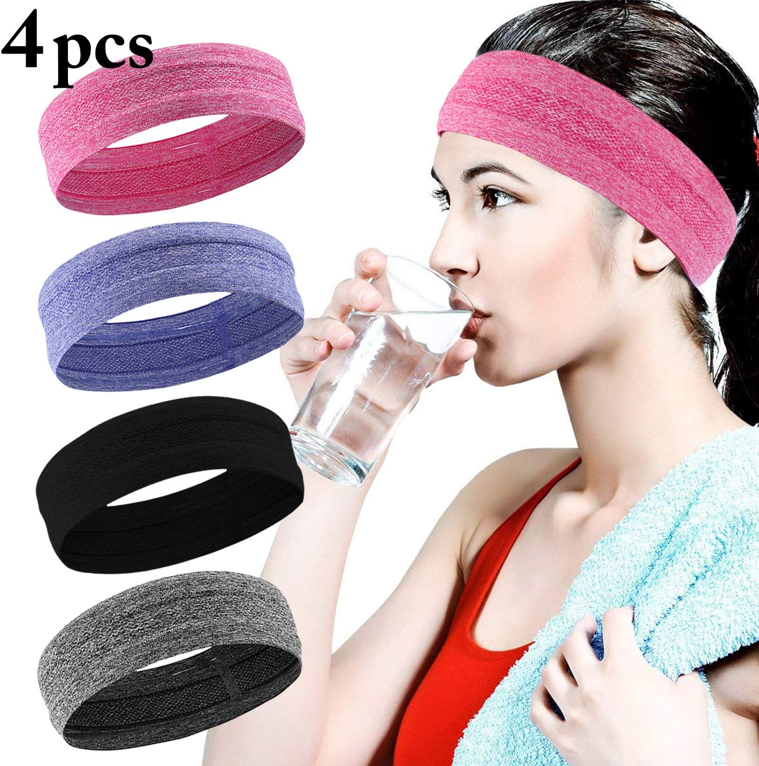 Fascigirl Sport Headband Sweatband For Women Men Elastic Head Band