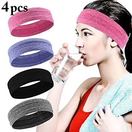 viele möglichkeiten große Auswahl Einkaufen Fascigirl Sport Stirnband, 4 Pcs Schweißband für Frauen Männer Elastische  Kopf Band Rutschfeste Haarband Sportliche Stirnband Feuchtigkeit Wicking ...