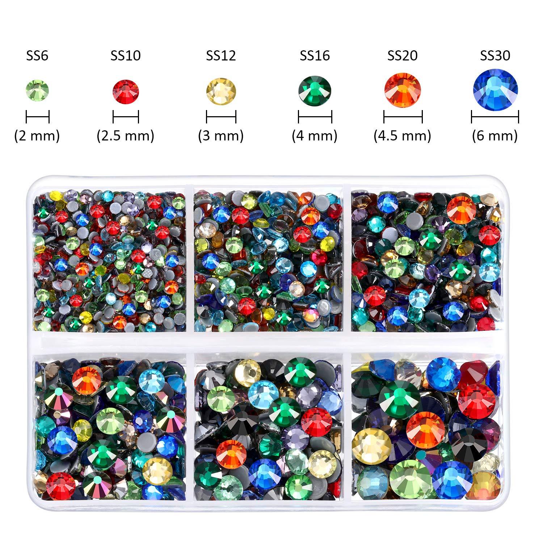 Black 4000 Pieces Mixed Size Hot Fix Round Crystals Gems Glass Stones Hotfix Flat Back Rhinestones