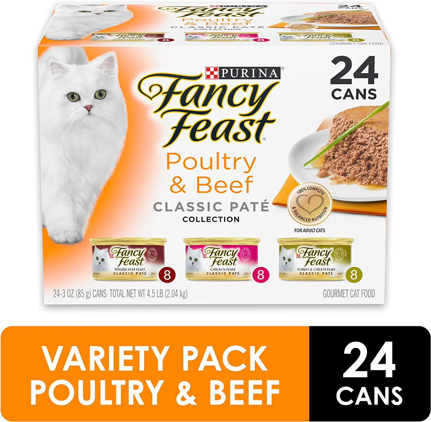 Purina Fancy Feast Wet Cat Food Variety Pack, Chicken Feast Collection - (24) 3 oz. Cans